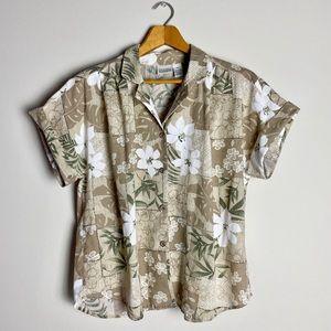🌺 Tan Hawaiian Button-Up Short Sleeved Shirt
